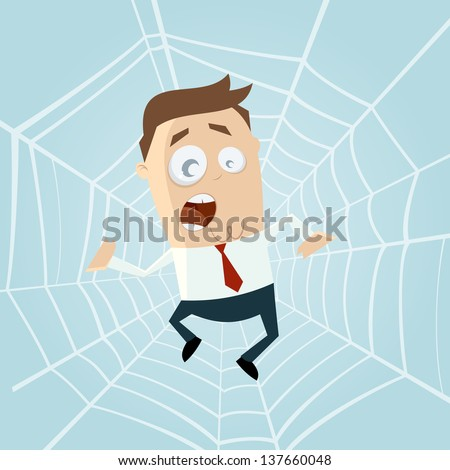cartoon man trapped in spiderweb - stock vector