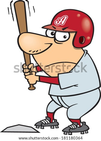 cartoon man up to bat