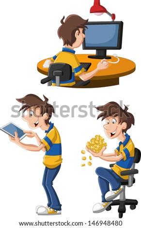Cartoon man using computer and tablet - stock vector