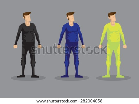 Cartoon man wearing form fitting bodysuit in colors of black, blue and neon green. Vector characters isolated on grey background. - stock vector