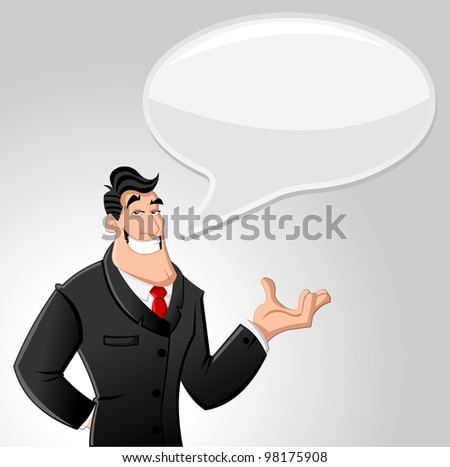 Cartoon man wearing suit talking with speech balloon - stock vector