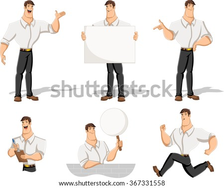 Cartoon man wearing white shirt in different actions - stock vector