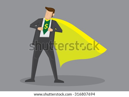 Cartoon man wearing yellow cape opening his shirt to reveal dollar sign. Creative vector illustration on metaphor for financial savvy or expert isolated on grey background. - stock vector