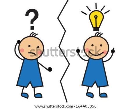 Cartoon man with a question mark and a light bulb over his head - stock vector