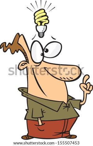 Cartoon Man With An Idea Light Bulb Above His Head