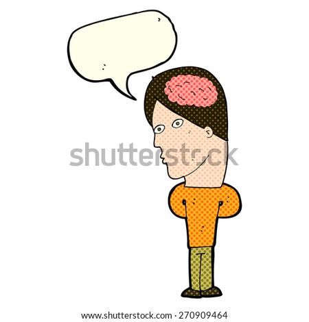 cartoon man with big brain with speech bubble - stock vector