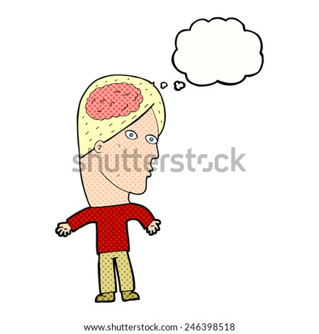 cartoon man with brain symbol with thought bubble - stock vector