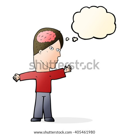 cartoon man with brain with thought bubble - stock vector