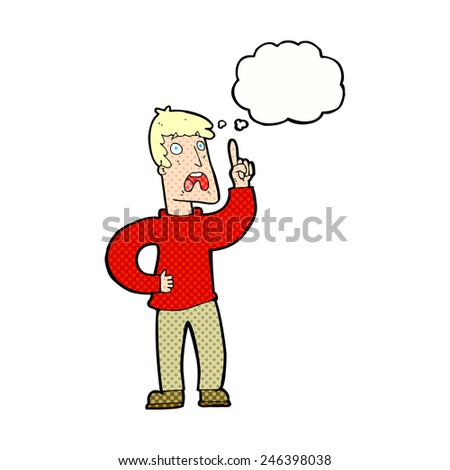 cartoon man with complaint with thought bubble - stock vector