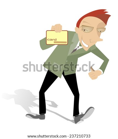 Cartoon man with credit card