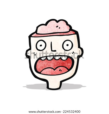 cartoon man with exposed brain - stock vector