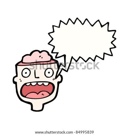 cartoon man with exposed brain - stock vector