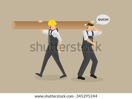 Cartoon man without work helmet gets hit on the head by worker carrying log on shoulder. Vector illustration on workplace accident concept isolated on plain brown background. - stock vector