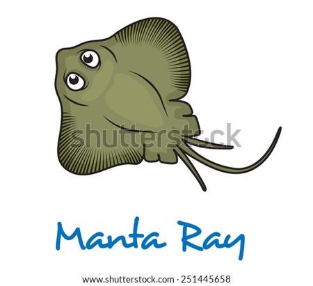 Cartoon manta ray viewed from above with large eyes and text Manta Ray below - stock vector