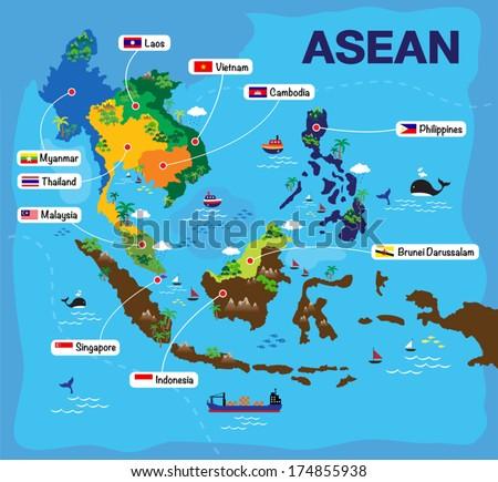 Cartoon map of ASEAN, asian - stock vector