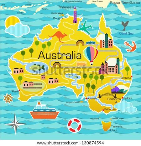 Cartoon map of Australia - stock vector