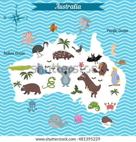 Cartoon Map Australia Continent Different Animals Stock Vector - Map of australia for kids