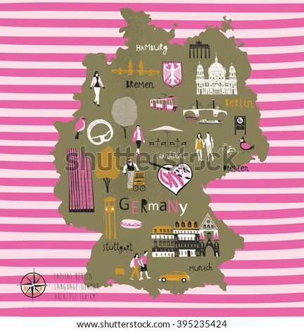 Cartoon Map of Germany with Legend Icons - stock vector