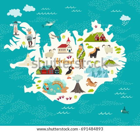 Cartoon map iceland kid children iceland vectores en stock 691484893 cartoon map of iceland for kid and children iceland landmarks vector cute poster illustrated gumiabroncs Image collections