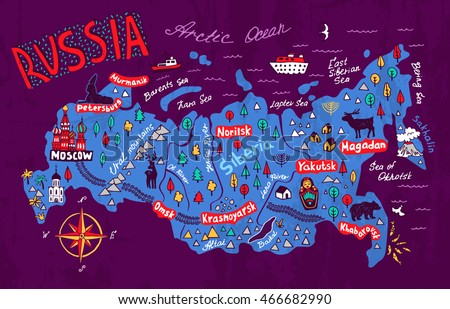 Russia Map Stock Images RoyaltyFree Images Vectors Shutterstock - Map of russia