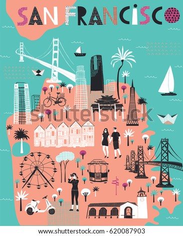 Cartoon Map San Francisco California Print Stock Vector - San francisco map vector free download