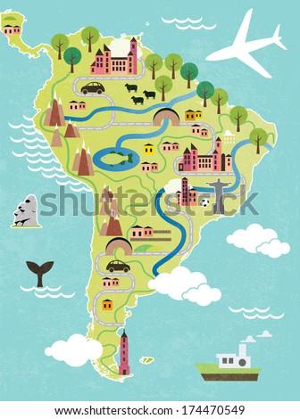 Cartoon Map South America Stock Vector 174470549 Shutterstock