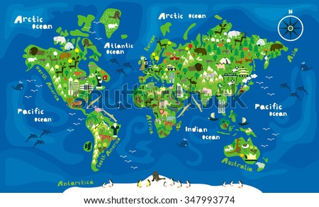 cartoon map of the world with animals - stock vector