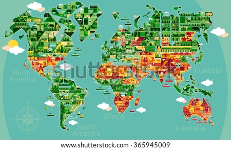Cartoon map world cities sightseeing attractions stock vector hd cartoon map of the world with cities and sightseeing attractions travel illustration design gumiabroncs Choice Image
