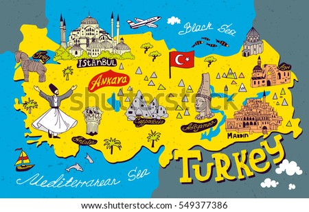 Cartoon Map Turkey Travel Attractions Stock Photo Photo Vector