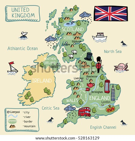 cartoon map of united kingdom england scotland wells north ireland