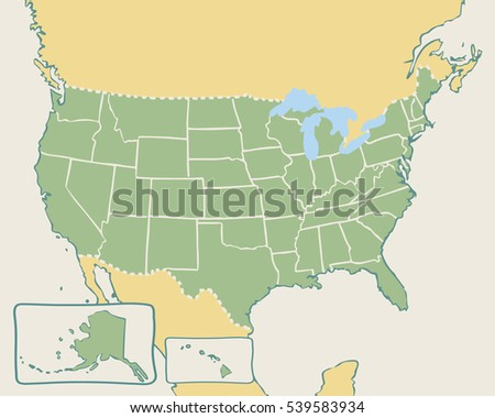 Gray Map United States America On Stock Vector - The map of united states of america