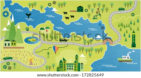 Cartoon map river vector de stock172825649 shutterstock cartoon map with river gumiabroncs Choice Image