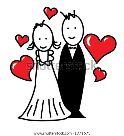 Cartoon/married couple - stock vector