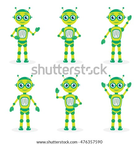 Cartoon mascot robot, character. Robot in different poses.mascot logo. Vector illustration