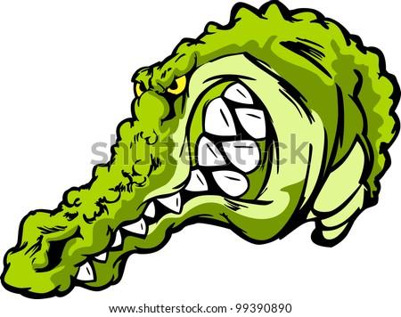 Cartoon Mascot Vector Image of an Alligator or Croc - stock vector