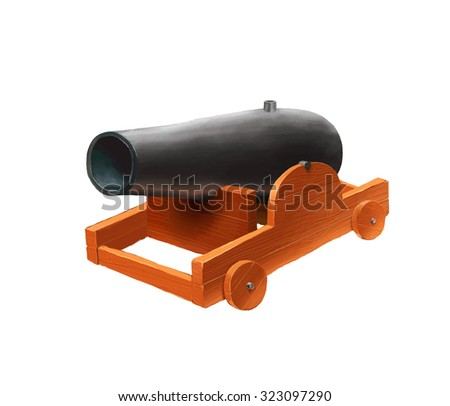 Cartoon medieval cannon icon isolated on white - stock vector