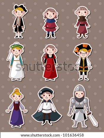 cartoon medieval people stickers - stock vector
