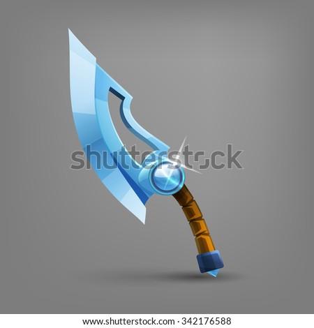 Cartoon medieval sword. Vector illustration. - stock vector