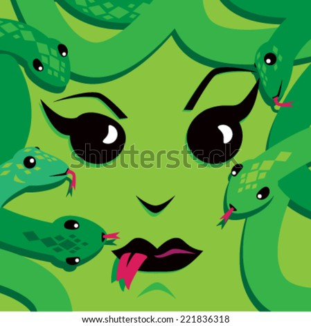 Cartoon Medusa Face - stock vector