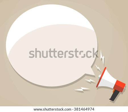 Cartoon megaphone with white bubble for text. social media marketing concept. vector illustration in flat design on brown background - stock vector