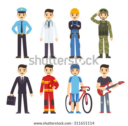 Cartoon men of 8 different professions: policeman, fireman, doctor, soldier, construction worker, businessman, athlete and musician. - stock vector