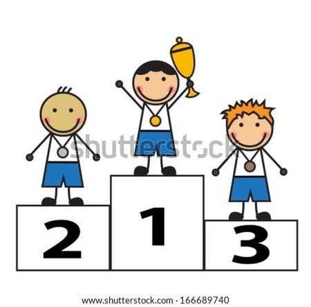 Cartoon men stand on podium winners stock vector 166689740 - Dessin podium ...