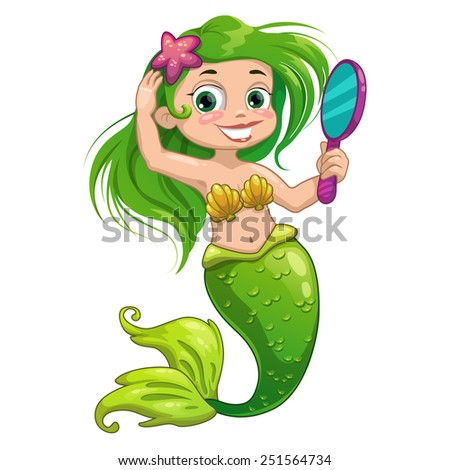 Cartoon mermaid with mirror, vector isolated illustration - stock vector