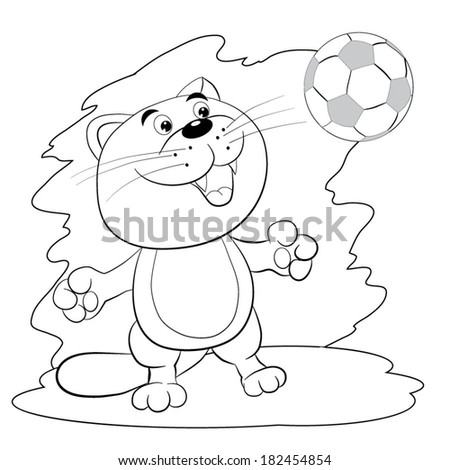 Cartoon Merry Cat Knocked Up A Football Ball Coloring Book