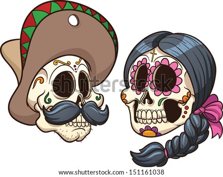Cartoon mexican skulls. Vector clip art illustration with simple gradients. Each on a separate layer.  - stock vector