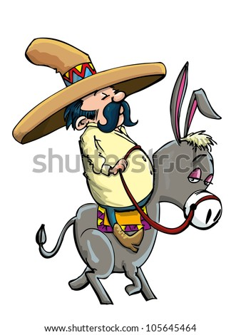 cartoon mexican wearing a sombrero riding a donkey isolated