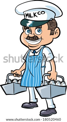 Cartoon Milkman delivering milk. Isolated - stock vector
