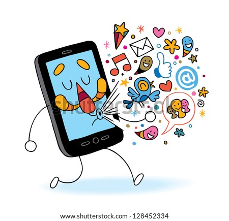 cartoon mobile phone - stock vector
