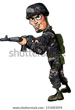 Cartoon modern soldier with a rifle. Isolated