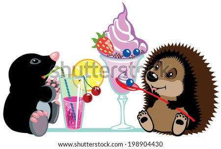 cartoon mole and hedgehog eating desserts, isolated image for little kids